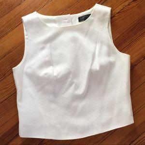 Karen Kane White Crop Top Lined Button Back Tank